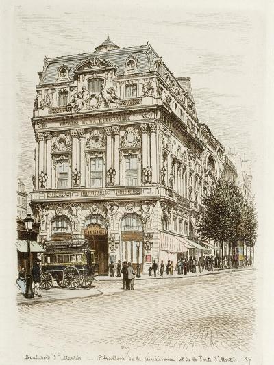 Boulevard Saint-Martin: Théâtres de la Renaissance et de la Porte Saint Martin-Adolphe Martial-Potémont-Giclee Print