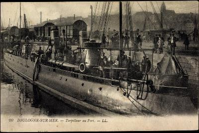 Boulogne Sur Mer, Torpilleur Au Port, Kriegsschiff--Giclee Print