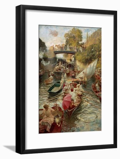 Boulter's Lock: Sunday Afternoon, 1885-97-Edward John Gregory-Framed Giclee Print