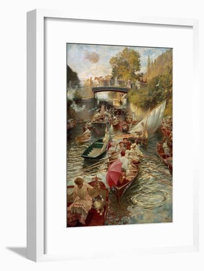 Boulter's Lock: Sunday Afternoon, 1885-97-Edward John Gregory-Framed Giclee Print