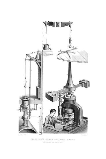Boulton's Screw Coining Press, as Used in the Royal Mint, 1866-Joseph Wilson Lowry-Giclee Print