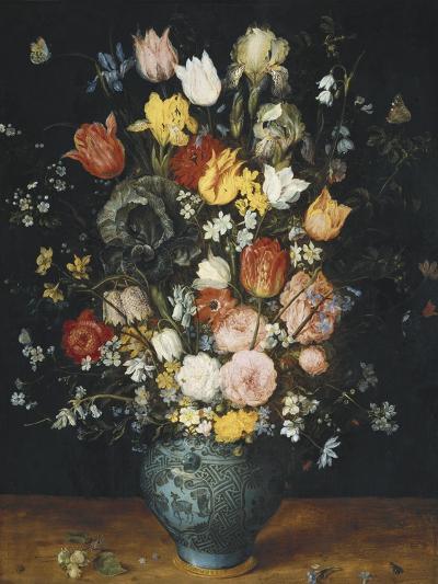 Bouquet in a Blue Vase-Jan Brueghel the Elder-Art Print