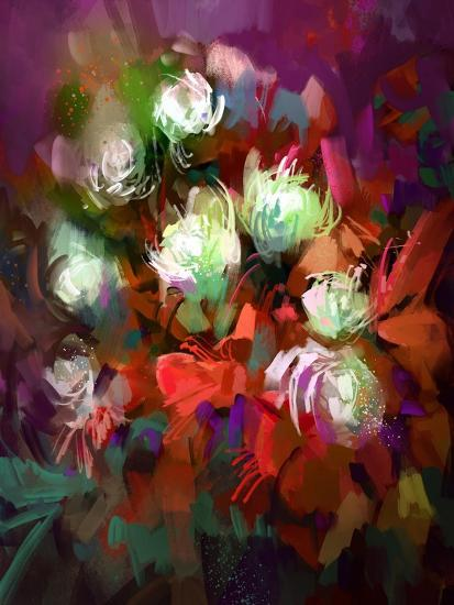 Bouquet of Colorful Flowers,Digital Painting,Illustration-Tithi Luadthong-Art Print