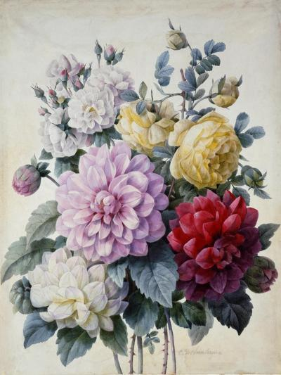 Bouquet of Flowers, Dahlias and Roses, Published C.1830-40 (Stipple Hand Coloured)-Camille de Chantereine-Giclee Print