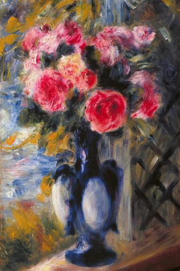 Bouquet of Roses in Blue Vase 1892-Pierre-Auguste Renoir-Giclee Print