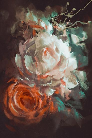 Bouquet of Roses with Oil Painting Style,Illustration-Tithi Luadthong-Art Print