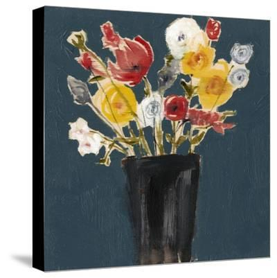 Bouquet on Teal II-Jennifer Goldberger-Stretched Canvas Print