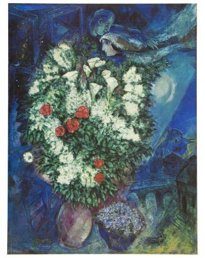 Bouquet with Flying Lovers-Marc Chagall-Art Print