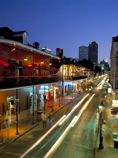 Bourbon Street and City Skyline at Night, New Orleans, Louisiana, USA-Gavin Hellier-Photographic Print