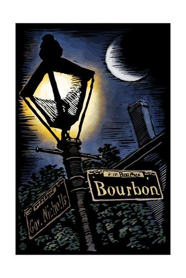 Bourbon Street - New Orleans, Louisiana - Scratchboard-Lantern Press-Art Print