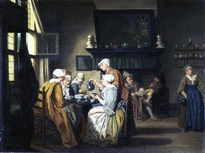 Bourgeois Interior with Ladies Drinking Tea, a Man Reading by the Fireplace-Jan Josef the Elder Horemans-Giclee Print