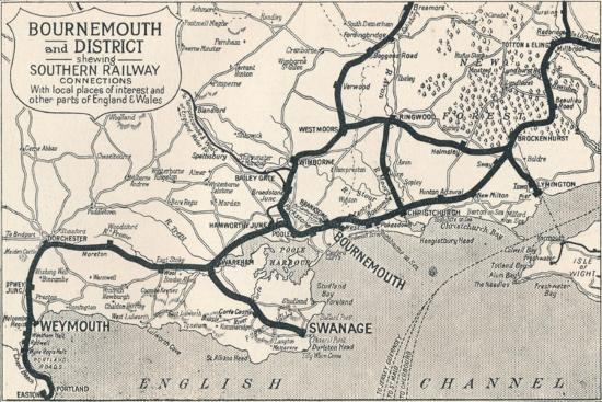'Bournemouth and District, shewing Southern Railway connections', 1929-Unknown-Giclee Print