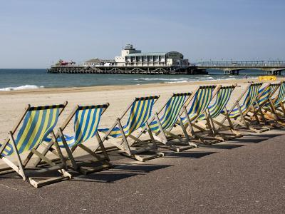 Bournemouth East Beach, Deck Chairs and Pier, Dorset, England, United Kingdom, Europe-Rainford Roy-Photographic Print