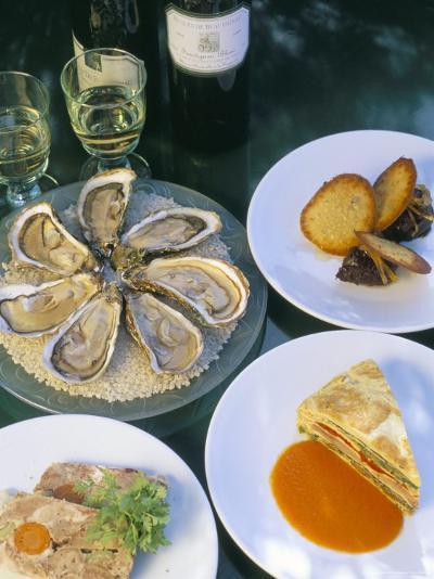 Bouzigues Oysters, Crespeou, Cochon Terrine, Chez Philippe-Bruno Barbier-Photographic Print
