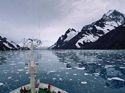 Bow of a Cruise Ship, Channel of the Southern Ocean with Antarctic Mountains-Charles Sleicher-Photographic Print