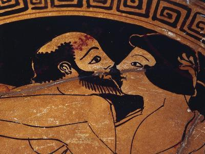 Bowl Decorated with Erotic Scene, Detail of Kiss Between Lovers--Giclee Print