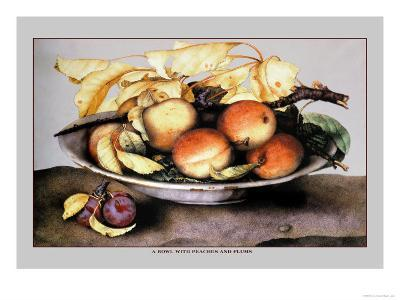 Bowl with Peaches and Plums-Giovanna Garzoni-Art Print