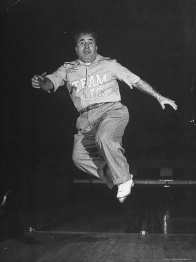 Bowler Andy Varipapa, Celebrating Because of His Score-George Skadding-Photographic Print
