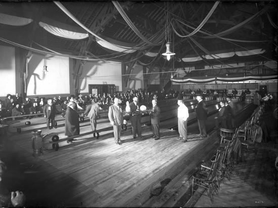 Bowlers' Opening at Bowling Alley, Madison Park, Seattle, 1909-Ashael Curtis-Giclee Print