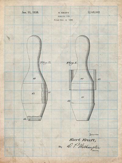 Bowling Pin 1938 Patent-Cole Borders-Art Print