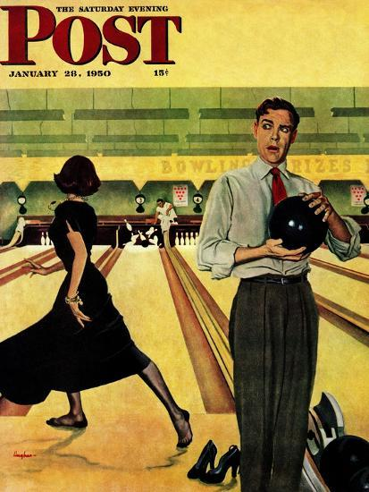 """Bowling Strike"" Saturday Evening Post Cover, January 28, 1950-George Hughes-Giclee Print"