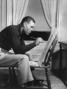 Boxer Joe Louis Painting a Picture for Urban League Guild Exhibit, Sept. 1949