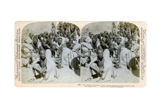 Boxer Prisoners Captured and Brought in by the Us 6th Cavalry, Tientsin, China, 1901-Underwood & Underwood-Giclee Print