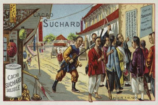 Boxers on a Street in Beijing, China, Boxer Rebellion, 7 June 1900--Giclee Print