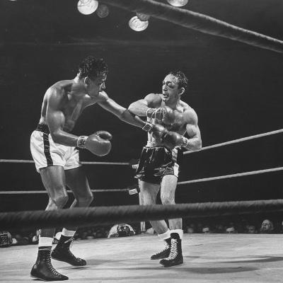 Boxers Ray Robinson and Carmen Basilio Fighting in the Ring-George Silk-Premium Photographic Print