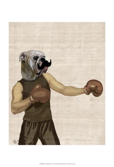 Boxing Bulldog Portrait-Fab Funky-Art Print