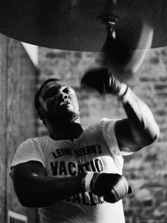 Boxing Champ Joe Frazier Working Out for His Scheduled Fight Against Muhammad Ali-John Shearer-Premium Photographic Print