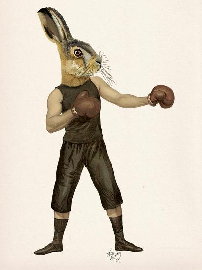 Boxing Hare-Fab Funky-Art Print