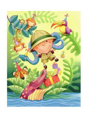 Boy Adventurer Celebrating Birthday with Jungle Animals