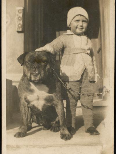 Boy and Bulldog--Photographic Print