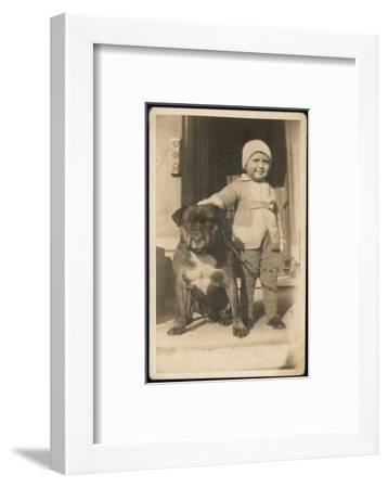 Boy and Bulldog--Framed Photographic Print