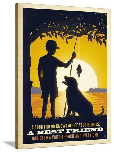 Boy and Dog-Anderson Design Group-Stretched Canvas Print