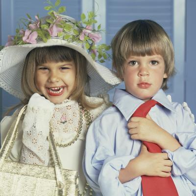 Boy and Girl Dressed Up in Adult Clothing-Dennis Hallinan-Photographic Print