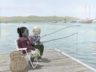 Boy and Girl Fishing Off of Dock-Nora Hernandez-Giclee Print