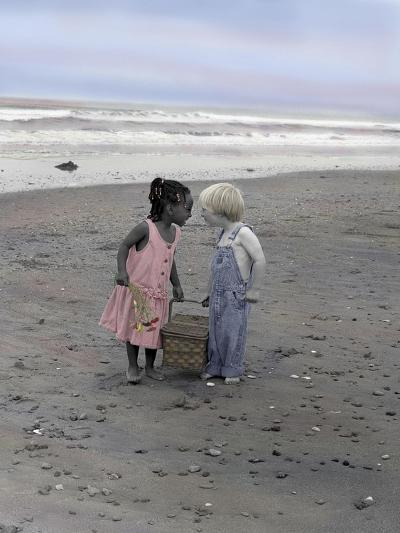 Boy and Girl Holding Picnic Basket Looking at Each Other-Nora Hernandez-Giclee Print