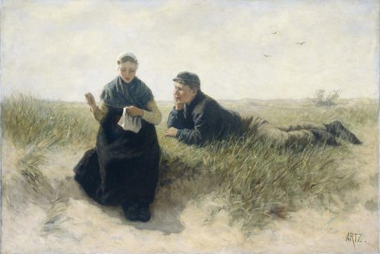 Boy and Girl in the Dunes-David Adolph Constant Artz-Art Print