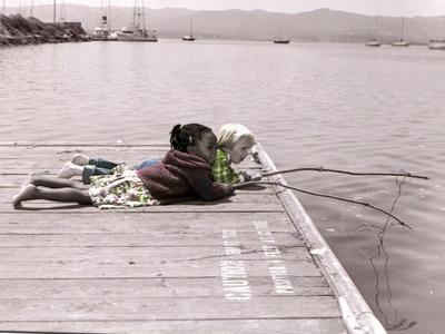 Boy and Girl Laying on Dock Fishing-Nora Hernandez-Giclee Print