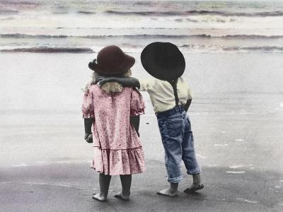 Boy and Girl on Beach-Nora Hernandez-Giclee Print