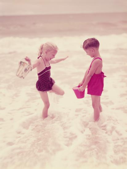 Boy and Girl Playing in Ocean Surf-H^ Armstrong Roberts-Photographic Print
