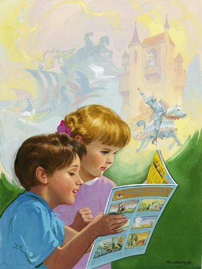 Boy and Girl Reading-Van Der Syde-Giclee Print