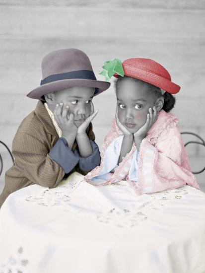 Boy and Girl Sitting at Table with Head in Hands-Nora Hernandez-Giclee Print