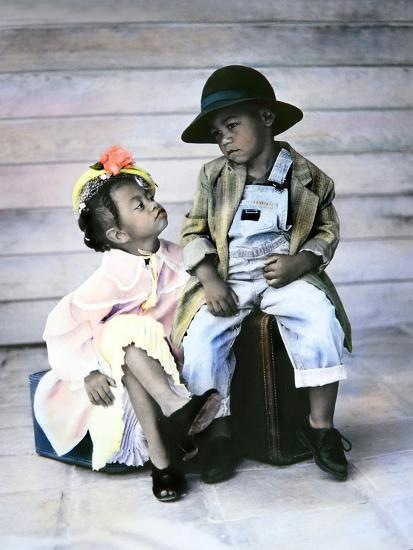 Boy and Girl Sitting on Luggage-Nora Hernandez-Giclee Print