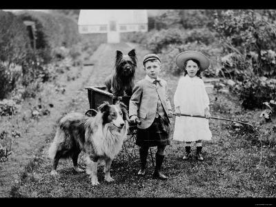 Boy and Girls with Two Dogs and a Wagon--Photo