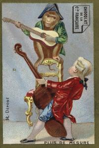 Boy and Monkey Playing Musical Instruments Together