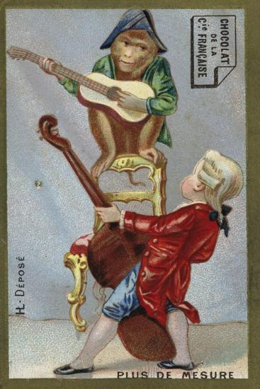 Boy and Monkey Playing Musical Instruments Together--Giclee Print