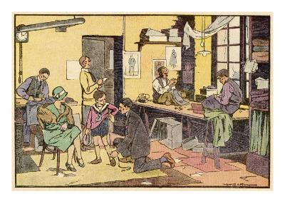 Boy at Tailor's Shop--Giclee Print